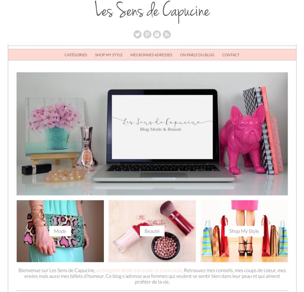 Nouveau design du blog Les Sens de Capucine